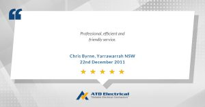 Electrician Wollongong Customer Review - Chris Byrne: Professional, efficient and friendly service.